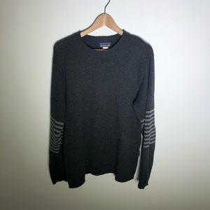 Patagonia Gray Striped Sleeve Sweater